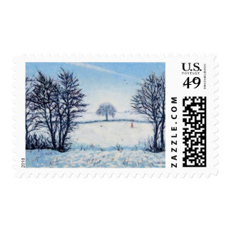 A Winters Walk Postage Stamp