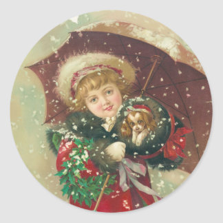 A Wintry Day by Gray Lithograph Company Round Sticker