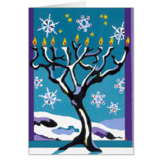 A Wintry Hanukkah Card at Zazzle