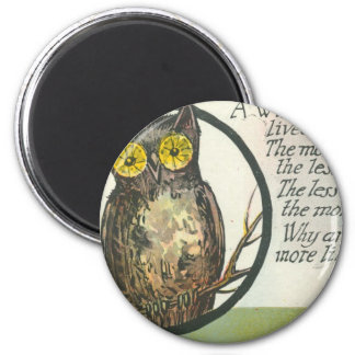 a wise old owl 2 inch round magnet