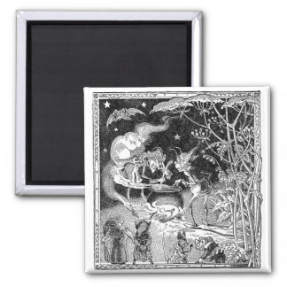 A Witch Brews for Forest Friends 2 Inch Square Magnet