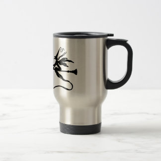 A witch on a broomstick with a cat travel mug