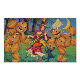 A Witch's Dance Cross Stitch Poster