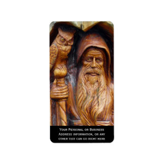 A Wizard and Owl Emerge From Cavern Address Label