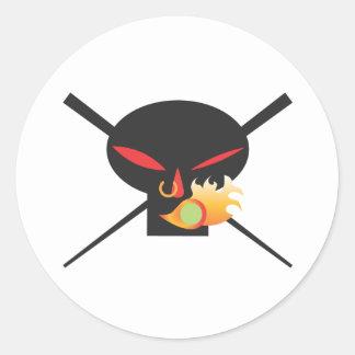 A Wod of Wasabi - Black Skull Tee Classic Round Sticker
