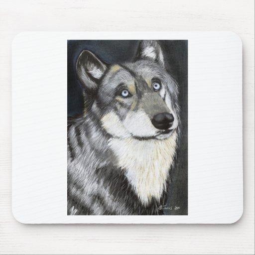 A Wolfs la mirada fija, pintando por Ben Jones Alfombrillas De Ratón
