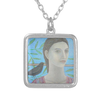 A Woman and a Blackbird are One Silver Plated Necklace