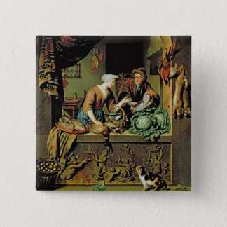 A Woman and a Fish Peddler, 1713 (oil on panel) Pinback Button