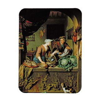 A Woman and a Fish Peddler, 1713 (oil on panel) Rectangular Photo Magnet