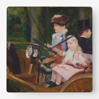 A Woman and a Girl Driving by Mary Cassatt Square Wall Clock