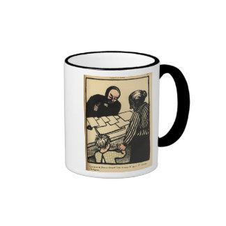 A woman and child hand over their savings ringer coffee mug