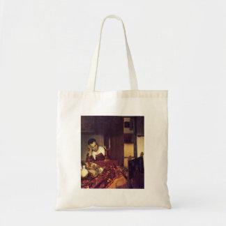 A woman asleep by Johannes Vermeer Bag