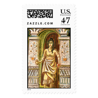 A woman at the gateway Welcome symbol Postage