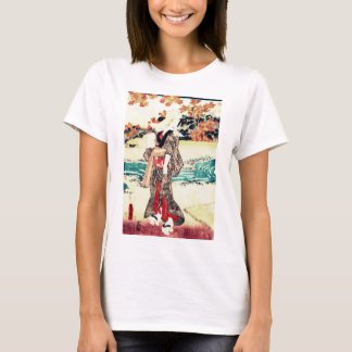 A woman beneath maple leaves. T-Shirt