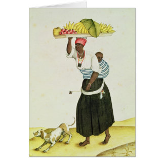 A Woman Carrying a Tray of Fruit on her Head Card