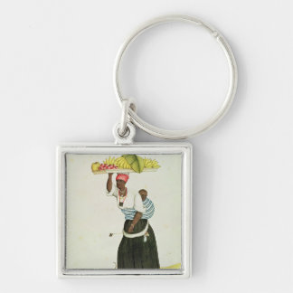 A Woman Carrying a Tray of Fruit on her Head Keychain