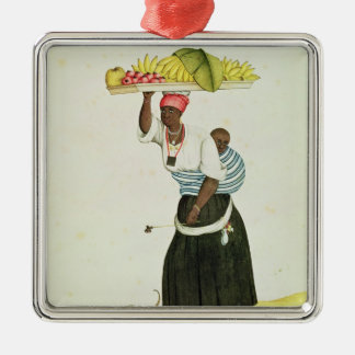 A Woman Carrying a Tray of Fruit on her Head Metal Ornament