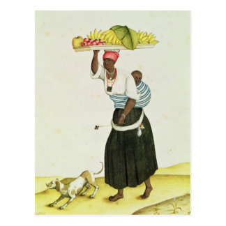 A Woman Carrying a Tray of Fruit on her Head Postcard