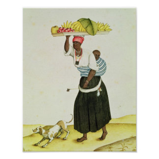 A Woman Carrying a Tray of Fruit on her Head Poster