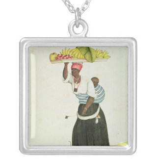 A Woman Carrying a Tray of Fruit on her Head Silver Plated Necklace