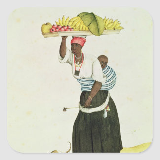 A Woman Carrying a Tray of Fruit on her Head Square Sticker