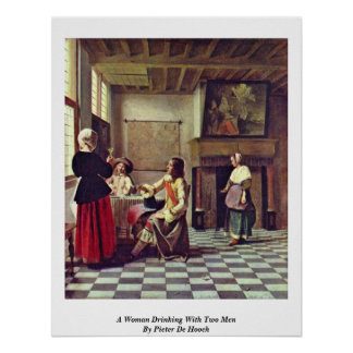 A Woman Drinking With Two Men By Pieter De Hooch Poster
