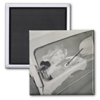 A woman driving, c.1930s (photogravure) 2 inch square magnet