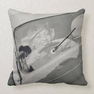 A woman driving, c.1930s (photogravure) pillow
