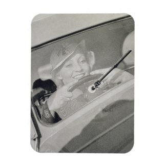 A woman driving, c.1930s (photogravure) rectangular photo magnet