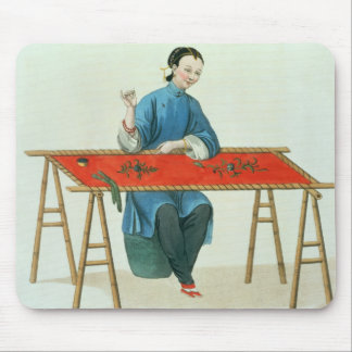 A Woman Embroidering, plate 41 from 'The Costume o Mouse Pad