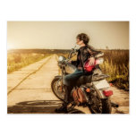 A Woman, Her Motorcycle and the Road Postcard