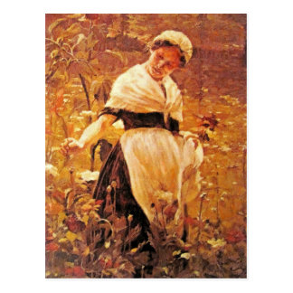 A woman in a field postcard
