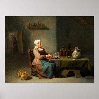 A Woman in a kitchen Print