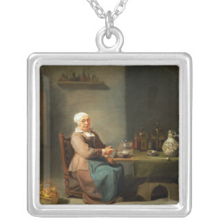A Woman in a kitchen Silver Plated Necklace