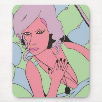 A Woman in Green Dress Mouse Pad