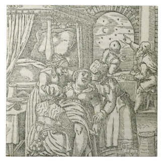 A Woman in Labour, illustration from chapter 2, Bo Ceramic Tile