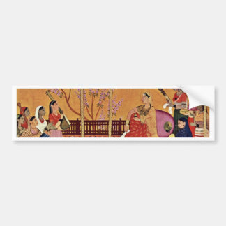 A Woman Listens To The Music By Indischer Maler Um Car Bumper Sticker