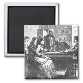 A woman negotiates with a factory manager, assiste 2 inch square magnet