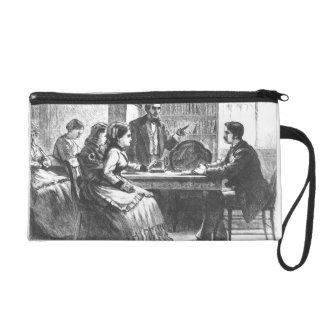 A woman negotiates with a factory manager, assiste wristlet purses