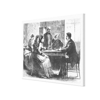 A woman negotiates with a factory manager, assiste canvas print