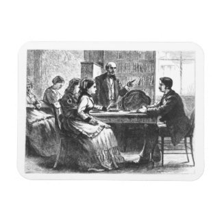 A woman negotiates with a factory manager, assiste rectangular photo magnet