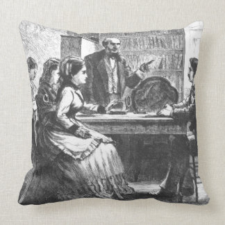 A woman negotiates with a factory manager, assiste throw pillow