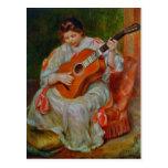 A Woman Playing the Guitar - Pierre-Auguste Renoir Postcard