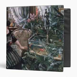 A Woman Reading near a Goldfish Tank 3 Ring Binder