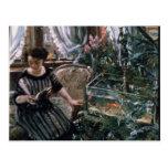 A Woman Reading near a Goldfish Tank Postcards