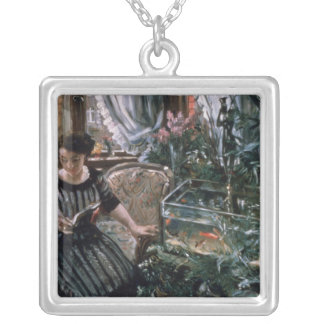 A Woman Reading near a Goldfish Tank Square Pendant Necklace