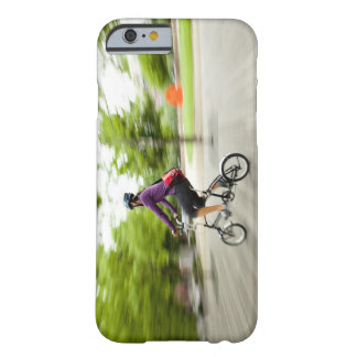 A woman using a folding bike to commute barely there iPhone 6 case