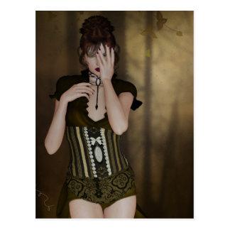A Woman Waiting: Digital Portrait Gothic Art  Card