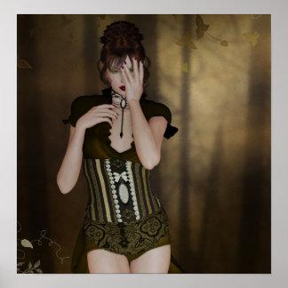 A Woman Waiting: Digital Portrait Gothic Art Poster