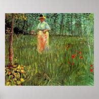 A Woman Walking in a Garden Print